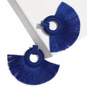 New Vintage Vibrant Blue Tassel Earrings